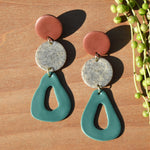 Terra Cotta, Stone and Teal Polymer Clay Statement Earrings by JAX Atelier