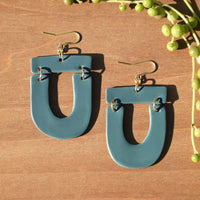 Slate Teal Polymer Clay Statement Earrings by Jax Atelier
