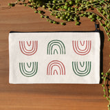 Mauve and Olive Rainbow Arch Block Print Pouch by JAX Atelier