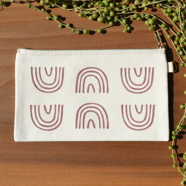 Mauve Rainbow Arch Block Printed Pouch by Jax Atelier