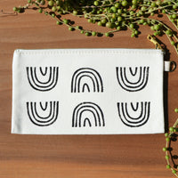 Black Rainbow Arch Block Print Pouch by JAX Atelier