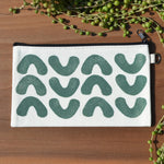 Seafoam Abstract Arch Block Printed Pouch by JAX Atelier