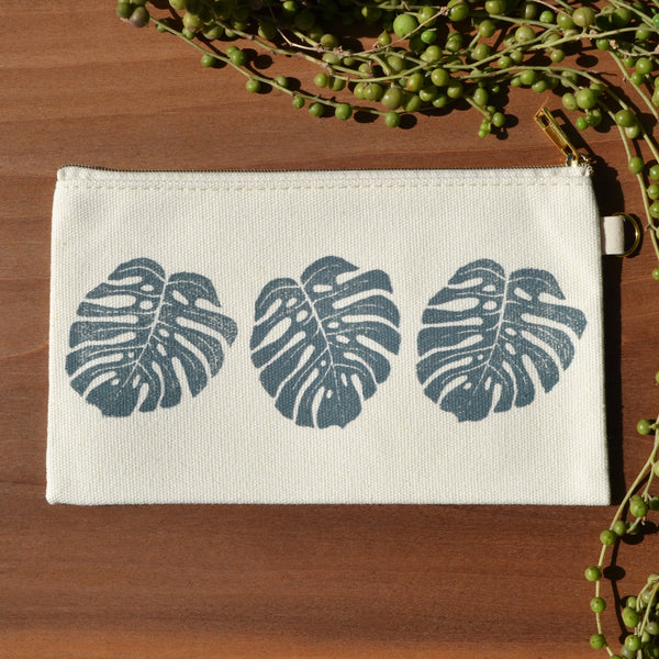Monstera Block Printed Pouch by JAX Atelier