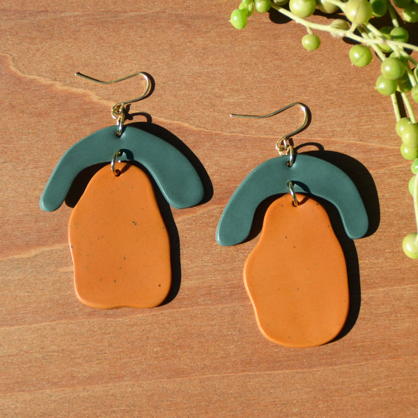 Teal and Speckled Mustard Polymer Clay Statement Earrings by JAX Atelier