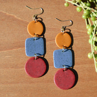 Mustard, Periwinkle and Berry Polymer Clay Statement Earrings by JAX Atelier