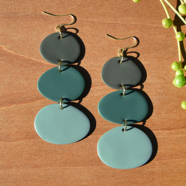 Teal Ombre Polymer Clay Statement Earrings by JAX Atelier