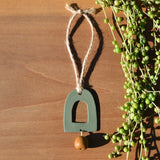 Speckled Sage Arch and Mustard Drop Polymer Clay Holiday Ornament by JAX Atelier