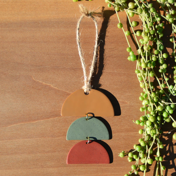Ochre, Sage, Berry Stacked Half-Circles Polymer Clay Holiday Ornament by JAX Atelier