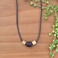 Wooden Bead and Brass Necklace