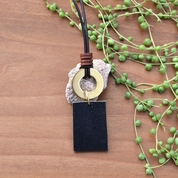Black Leather and Brass Circle Necklace
