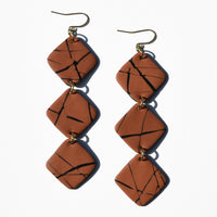Orange and Black Diamond Polymer Clay Statement Earrings by JAX Atelier