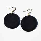 Seafoam and Black Circle Polymer Clay Statement Earrings by JAX Atelier