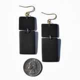 Black Front and White Back Polymer Clay Statement Earrings by JAX Atelier
