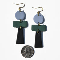 Light Blue, Dark Green and Black Polymer Clay Statement Earrings by JAX Atelier