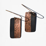 Textured Rectangle Copper Patina Earrings by JAX Atelier
