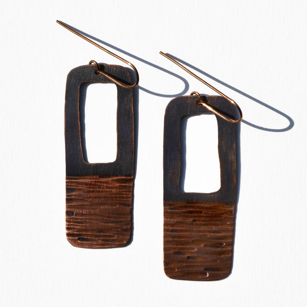 Rectangular Cut-Out Copper Patina Earrings by JAX Atelier