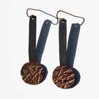 Drop Circle Textured Copper Patina Earrings by JAX Atelier