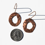 Textured Abstract Circle Copper Statement Earrings by JAX Atelier