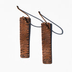 Narrow Rectangle Textured Copper Patina Earrings by JAX Atelier
