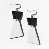 Black-and-White Trapezoid Polymer Clay Statement Earrings by JAX Atelier