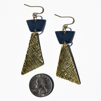 Criss-Cross Textured Brass and Navy Polymer Clay Statement Earrings by JAX Atelier