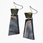 Textured Brass and Stone Polymer Clay Statement Earrings by JAX Atelier