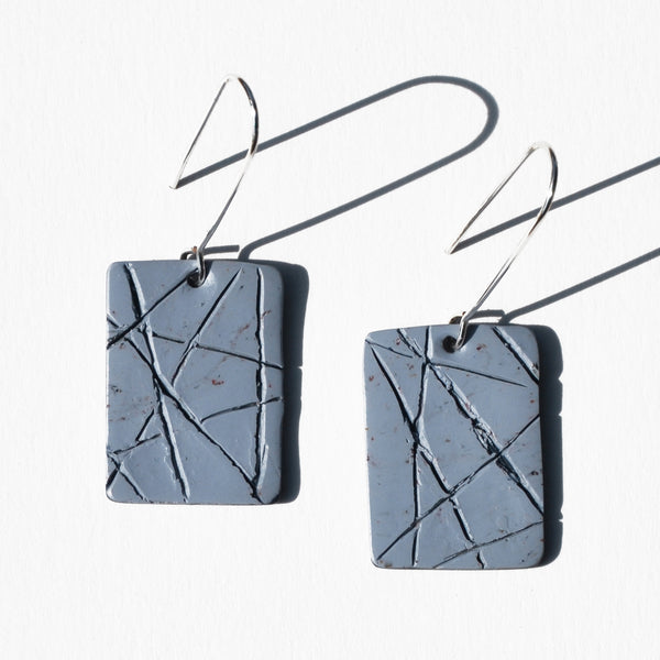 Sky Blue with Textured Lines Polymer Clay Earrings by Jax Atelier
