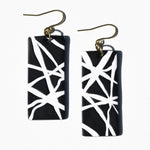 Black with White Lines Polymer Clay Statement Earrings by JAX Atelier