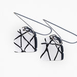 White with Textured Lines Polymer Clay Statement Earrings by JAX Atelier