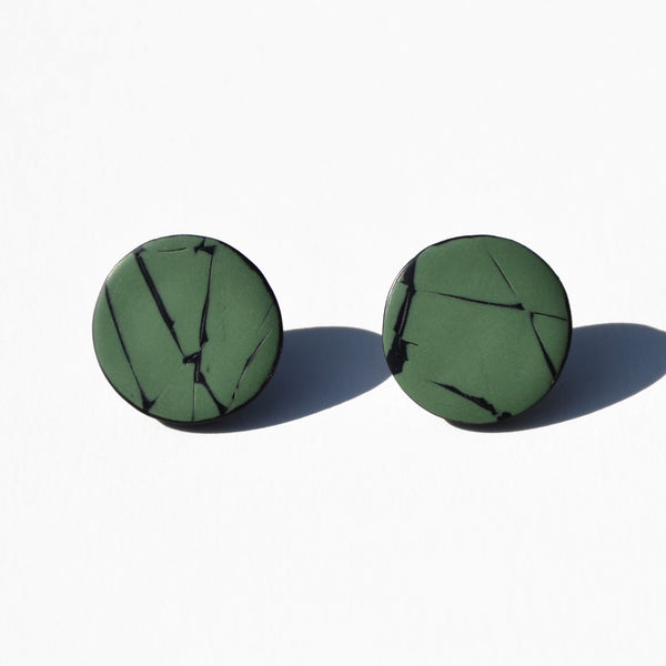 Seafoam and Black Polymer Clay Stud Earrings by JAX Atelier