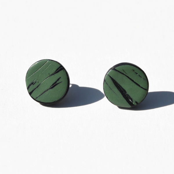 Seafoam and Black Lines Polymer Clay Stud Earrings by JAX Atelier