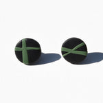Black and Green Polymer Clay Stud Earrings by JAX Atelier