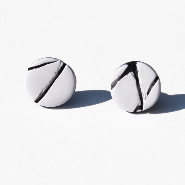 White With Black Texture Polymer Clay Stud Earrings by Jax Atelier
