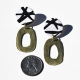 Brushed Brass and White with Black Lines Polymer Clay Statement Earrings by JAX Atelier