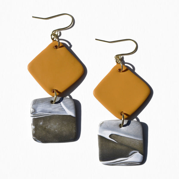 Turmeric and Swirl Polymer Clay Statement Earrings by Jax Atelier