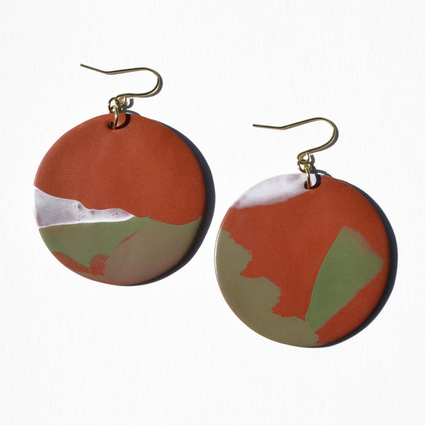 Burnt Orange and Sage Abstract Polymer Clay Earrings by Jax Atelier