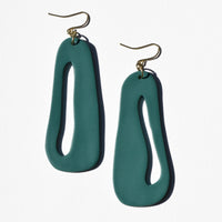 Teal Abstract Cut-Out Polymer Clay Statement Earrings by JAX Atelier