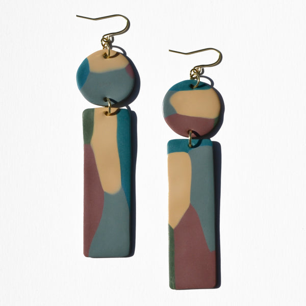 Mauve, Teal, Cream Polymer Clay Statement Earrings by Jax Atelier