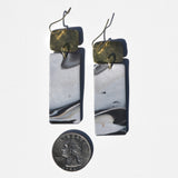 Hammered Brass and Rectangular Gray Swirl Polymer Clay Statement Earrings by JAX Atelier