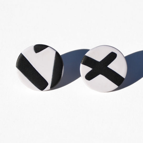Black-and-White Polymer Clay Stud Earrings by JAX Atelier
