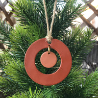 Terra Cotta and Blush Center Drop Polymer Clay Christmas Ornament by JAX Atelier