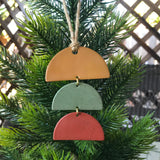 Ochre, Sage, Berry Stacked Half-Circles Polymer Clay Christmas Ornament by JAX Atelier