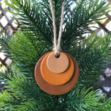 Yellow Ochre Ombre Circle Polymer Clay Holiday Ornament by JAX Atelier