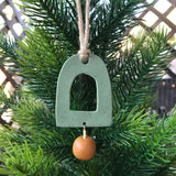 Speckled Sage Arch and Mustard Drop Polymer Clay Christmas Ornament by JAX Atelier