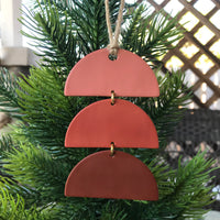 Terra Cotta Ombre Stacked Half-Circles Polymer Clay Christmas Ornament by JAX Atelier