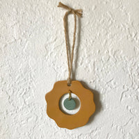 Mustard Flower and Sage Center Drop Polymer Clay Wall Hanging by JAX Atelier