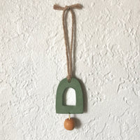 Speckled Sage Arch and Mustard Drop Polymer Clay Wall Hanging by JAX Atelier