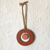 Terra Cotta and Blush Center Drop Polymer Clay Wall Hanging by JAX Atelier