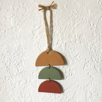 Ochre, Sage, Berry Stacked Half-Circles Polymer Clay Wall Hanging by JAX Atelier