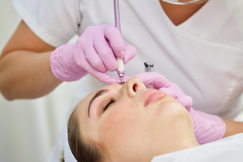 Microblading procedure at Tina Davies Studio